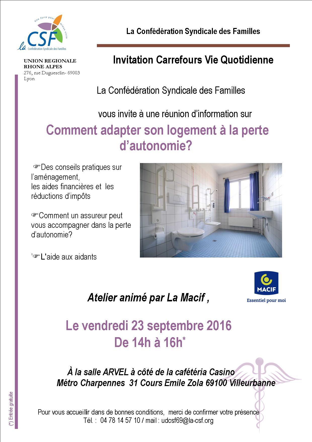 Invitation au CVQ sur l'aména des logements