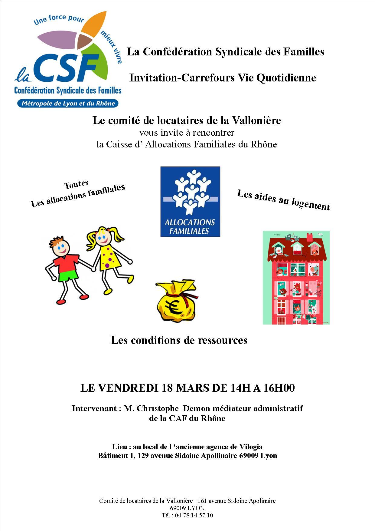 Cvq Ce Vendredi 18 Mars Sur Les Prestations Caf Http Lacsf69 Org